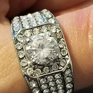 Men's 925 Silver and CZ Ring Size 11